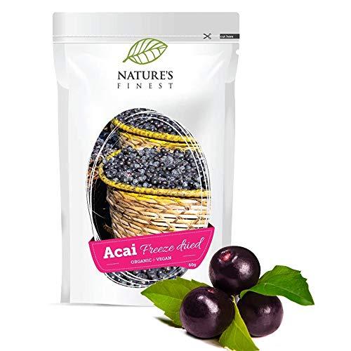 Nature's Finest Bio Acai Berries Powder 60 g | Superfood Rijk aan Antioxidanten | Biologisch Gevriesdroogd | Geschikt voor Vegetariërs, Veganisten, Paleo