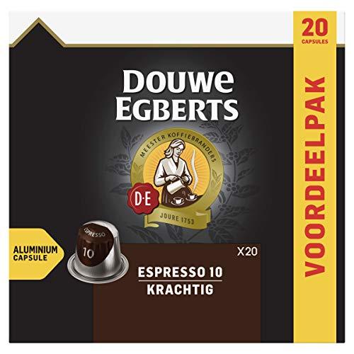 Douwe Egberts Koffiecups Espresso Krachtig Voordeelverpakking (200 Koffie Capsules, Geschikt voor Nespresso* Koffiemachines, Intensiteit 10/12, UTZ Gecertificeerd), 10 x 20 Cups
