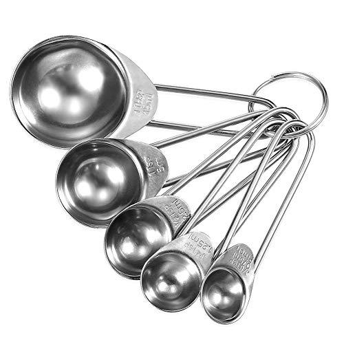 DYCYY 0.75-15ml 5 stks RVS Spice Lepel Meetlepel met Ring Houder Keuken Bakken Meetlepels? Mooie Keuken Gereedschap? voor professionele ingrediënten meten of voor vloeibare kruidenpoeder, koffiebar, thuisgebruik.