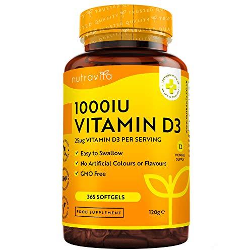 Vitamine D 1000 IU (25 μg) - 365 capsules voor het hele jaar - voor behoud van een gezond immuunsysteem, spieren, botten en tanden - Vitamine D3 Cholecalciferol - Gemaakt door Nutravita