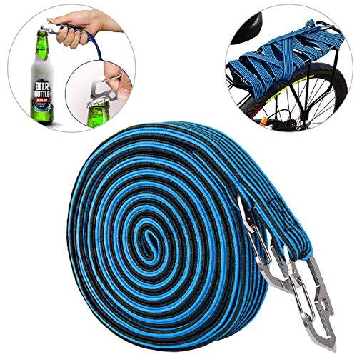 ASEOK Elastische bagagekabel, elastisch bungeekoord, universeel Heavy Duty elastisch fietsenrek riem bungeekoord met koolstofstalen haak, geschikt voor fietsen, elektrische auto's, 2 & 4 meter (2M, blauw)