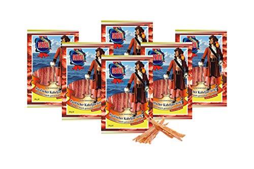 Pacific Cod Jerky - Pittig (verpakking van 6 x 36 g) Natuurlijke snack Gedroogd en gezouten I Koolhydraatarm I Eiwitrijk I Fitness Snack I Gedroogde vis met Spaanse peper I rijk aan Omega 3 I voor mannen en vrouwen