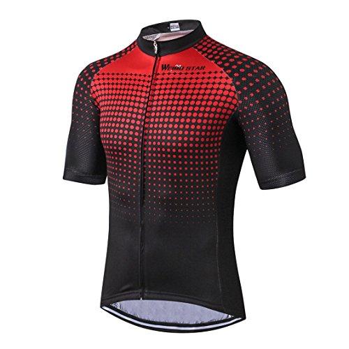 Fietsen Jersey Mannen Bike Clothes Road Cycle Zomer Berg MTB Fietskleding Korte Mouw T-shirts Outdoor Sport Top Ademend Rood Zwart Maat L