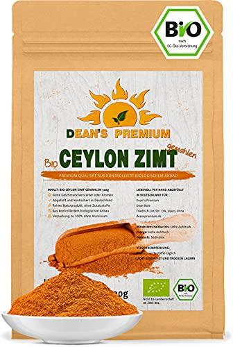 CEYLON ZIMT BIO (500 g)   kaneelpoeder biologisch arm aan cumarine 100% echt kaneel Ceylon   premium kwaliteit gevuld en gecontroleerd in Duitsland (DE-ÖKO-006)   verpakking zonder aluminium Dean's Premium