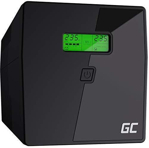 Green Cell® UPS 2000VA (1400W) met overspanningsbeveiliging 230V Line-Interactive AVR Pure Sine Wave USV-installatie USB/RJ45 2X Schuko 2X IEC uitgangen LCD-scherm