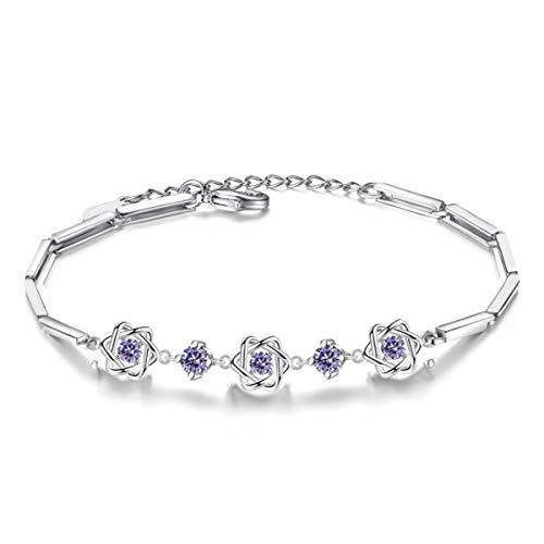 1 stuks armband dames zilver 925 met zirkonia mode gelukkige sterren armband, eenvoudige bedelarmbanden kerstcadeau voor vrouwen vriendin,anti-allergie (violet)
