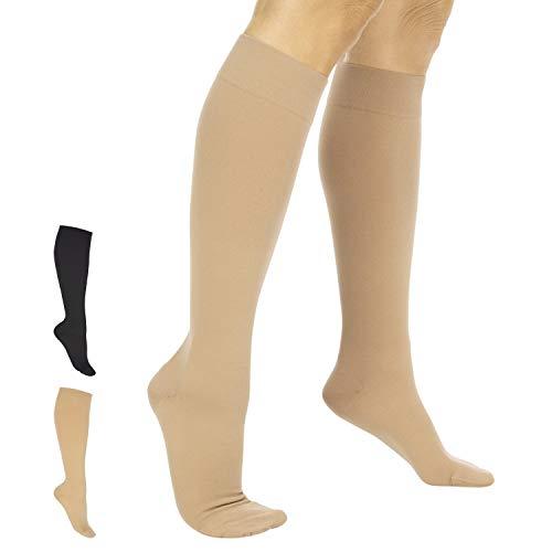 TruCompress Compressiekousen - 15-20 mmHg voor spataderen - Ultra transparante TED-stijlslang voor dames en heren, kniehoog voor zwelling, pijn, moederschap, zwangerschap