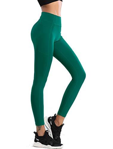 QueenDer Sportlegging voor dames, fitness, yogabroek, hoge taille, lang, ondoorzichtig, fietsbroek, korte sportlegging voor workout gym hardlopen, groen, XL