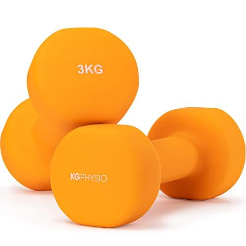 KG Physio dumbbells set en A3 poster met oefeningsvoorbeelden - Dumbbells paar met neopreen coating, comfortabele grip, zweetbestendige en anti-roll technologie dumbbell set