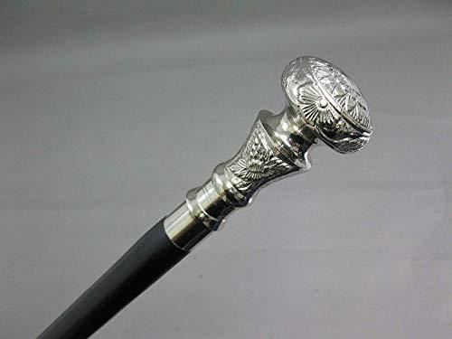 Wandelstok wandelstok met zilveren bloemen versierde knop zwart schot