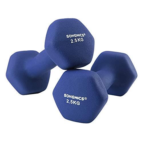 SONGMICS Korte halters, set van 2, 2,5 kg, krachttraining, thuis, op kantoor, in de sportschool, zwart SYL65BU