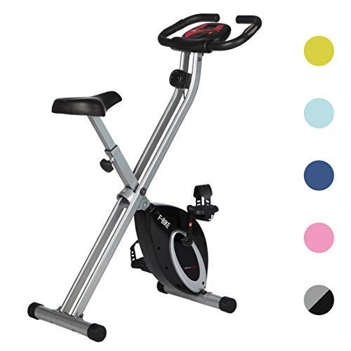 Ultrasport hometrainer F-Bike Advanced - LCD-display, opvouwbare hometrainer - verstelbare weerstandsniveaus - met handpulssensoren - opvouwbare fietstrainer- voor sporters en senioren, fitnessbike