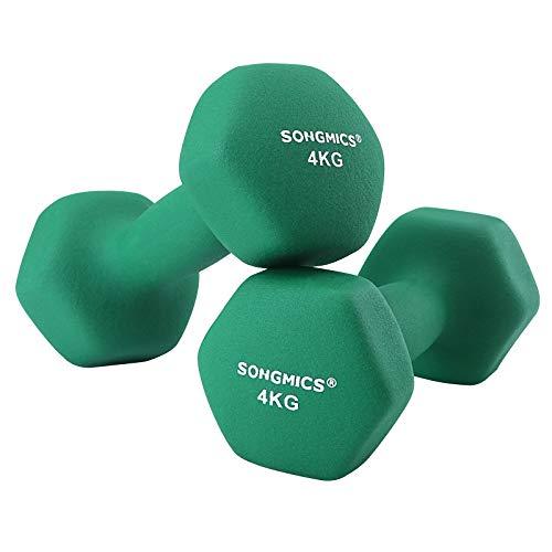 SONGMICS Korte halters, set van 2, 4 kg, krachttraining, thuis, op kantoor, sportschool, zwart SYL68GN