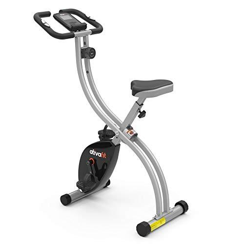 ATIVAFIT Opvouwbare hometrainer 8 weerstandsniveaus F-Bike met hartslagsensor+telefoonhouder grijs