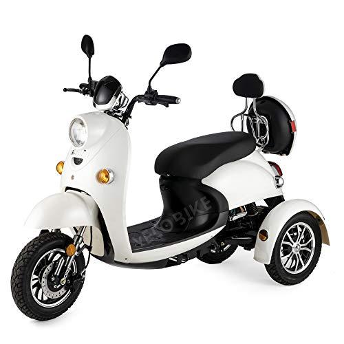 VELECO Seniorenmobiel driewieler retro elektrische scooter seniorenvoertuig 650W ZT63 3 kleuren (wit)