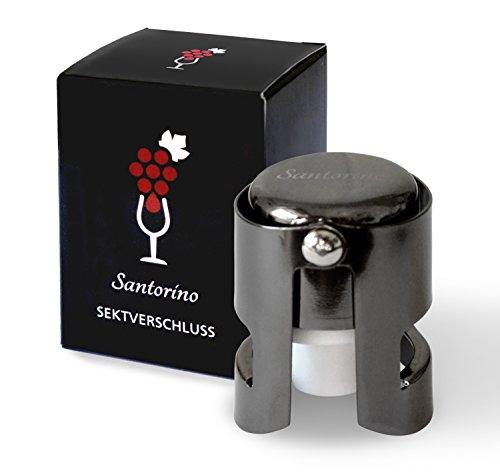 Santorino® Mousserende Wijnfles-stop   Premium Champagne Verzegeling   Donker Roestvrij Staal   Creëer een Vacuüm en Verzegel uw Open Prosecco Flessen   Hersluitbaar   Flessensluiting
