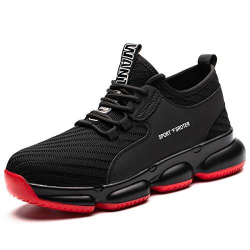 SROTER Veiligheidsschoenen voor Mannen Vrouwen Staal Teen Trainers Lichtgewicht Werk Schoenen Vrouwen Zachte Ademende Industriële Sport Sneakers