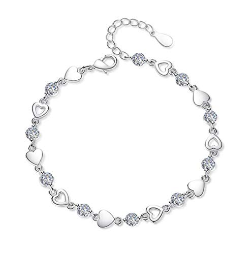 Wiftly Dames-/meisjesarmband, 925 zilver, met zirkonia, eeuwig hart, modesieraad, verstelbaar, kerstcadeau voor vriendin,