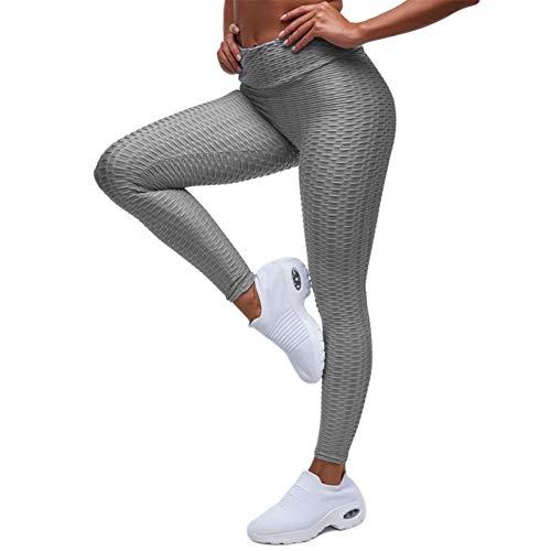 EXGOX Yogabroek voor dames, met hoge taille, stretch, hardlopen, workout, yoga, leggings, buikcontrole, sport, panty, grijs, XL