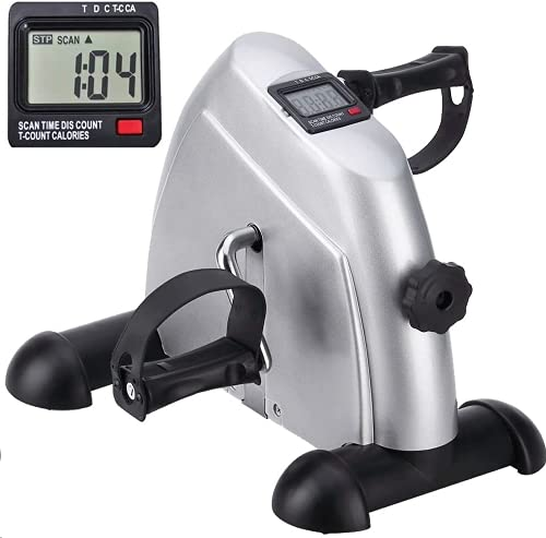 himaly Mini pedaaltrainer hometrainer bewegingstrainer arm- en beentrainer fiets fitnessapparaat met LCD-monitor instelbare weerstand home fiets trainingsapparaat voor thuis en op kantoor Niet opvouwbaar. Non-folding zilver