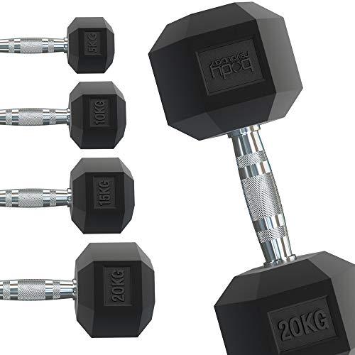 Body Revolution Hex Dumbbells - Rubber omhulde Home Gym zeshoekige gietijzeren hand halters Workout gewichten - Range van 1kg - 40kg (2 x 8kg)