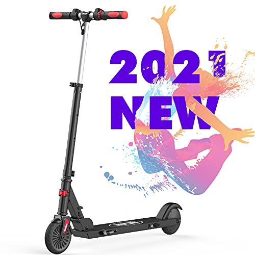 RCB Scooter elektrische scooter opvouwbaar verstelbaar voor kinderen 5,5 inch snelheid max. 20 km/h licht waterdicht IP4 reflecterende sticker antislip stuur (zwart)