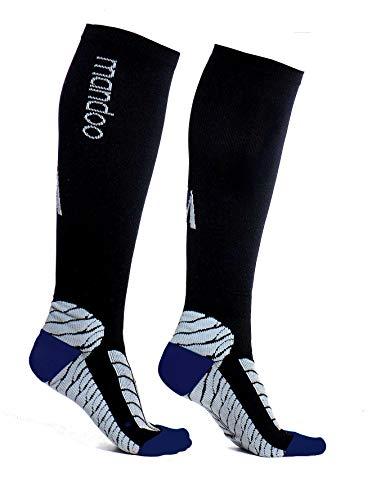 mandoo Premium compressiekousen (uniseks) voor een aangenaam draaggevoel – medische compressiesokken voor sport, na een operatie, voor langere vlucht – hoogwaardige steunkousen (blauw, L)