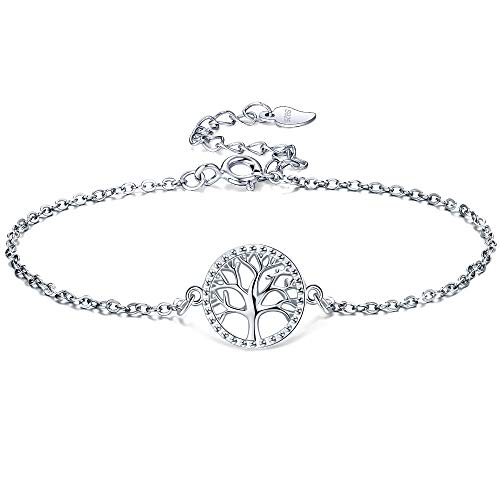 Lydreewam levensboom damesarmband sterling zilver 925 met geschenkdoos, verstelbaar 16 + 3 cm