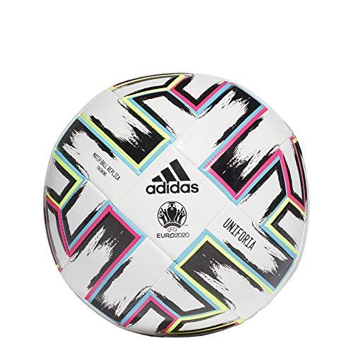 adidas Uniforia Ball, uniseks, volwassenen, wit/zwart/signaalgroen/helder cyaan, 5