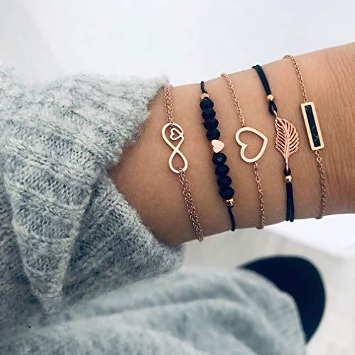 CAVIVI Gelaagde Armband Set Boho Liefde Leafs Hand Ketting Kralen Combinatie Armbanden Sieraden voor Vrouwen en Tiener Meisjes