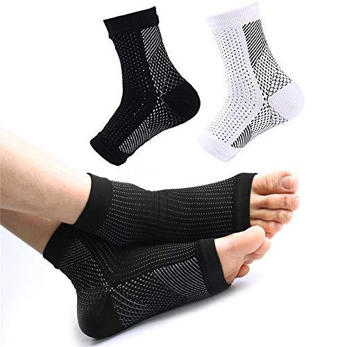 2 paar enkelbandages enkelsteun voetbandage compressiekousen beschermende functie, pijnverlichting en bloedcirculatie behulpzaam voor mannen en vrouwen S/M (EU 36-40) zwart+wit