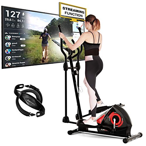 Sportstech CX608 Crosstrainer met Kinomap-app en bluetooth-console, gratis polsband inbegrepen, compatibele ellipstrainer, tablethouder ergometer, hometrainer met 3-delig zwengelsysteem