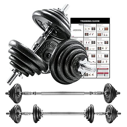 Proiron Halterset met 2 korte halterstangen en gietijzeren gewichtsschijven, 20 kg, met gekartelde greep, stersluitingen en verbindingsbuis Barbell
