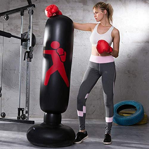 LONEEDY Opblaasbare vrije staande bokszak, zware trainingstas, volwassenen tieners fitness sport stressvermindering boksdoel (zwart)